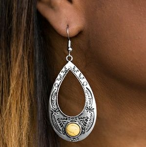 Silver & yellow crackle stone earrings
